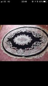 Chinese type floral design rug with fringe