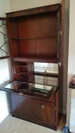 Tall Mahogany Glass/Drinks Cabinet.