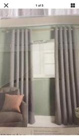 "1x Pair DUNELM Brampton Thermal eyelet Curtains 46""W x 54""D Grey new in packet"