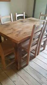 Rustic Solid Pine Dining Table and 6 Chairs