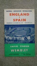 1955 England v Spain programme