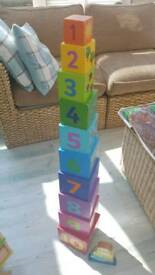 Wooden number stacking cubes