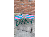 Two Portable Lightweight Folding Stools / Outdoor Chairs Ideal For Camping Fishing