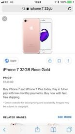 iPhone 7 32gb rose band new