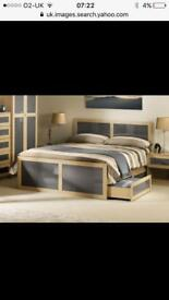 Classic bed frame light oak and grey