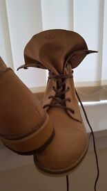 New ladies beige leather boots