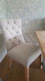 2 Button back oatmeal dining chairs - £70