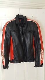 Dainese Leather Bike Jacket in Black and Red Size 10