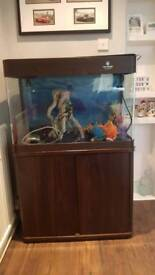 130L Fish Tank plus cabinet Inc heater, air pump, filter and more