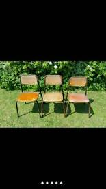 Vintage wooden school chairs, 3 small children's chairs