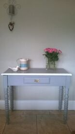 Hand painted hall table with turned legs