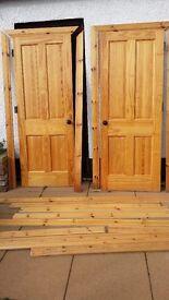 Two internal pine doors