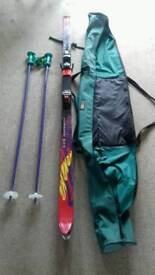 Full set of skis poles bindings bag