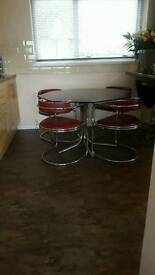 1970s table and chairs art deco