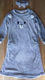 New warm fluffy nightdress long sleeves Grey Mouse – nighty, nightgown, nightwear