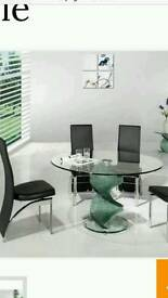 Italian glass table and 4 chairs