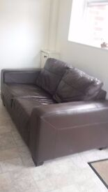 BROWN LEATHER TWO SEATER SOFA, GOOD CONDITION