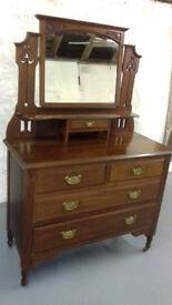 Antique Art Nouveau Dressing table, solid mahogany, original swing mirror, 4 drawers