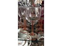 Vintage pink stemmed glasses
