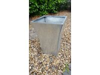 Tapered galvanised planter x2