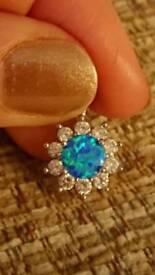 Blue Opal Sterling Silver Pendant