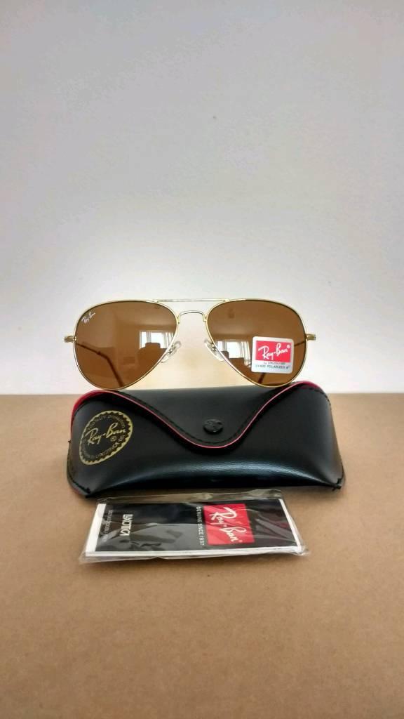Rayban aviator sunglasses brown lens