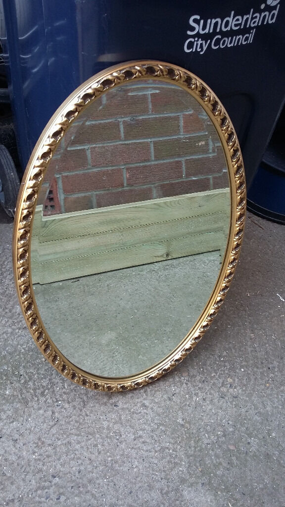 oval gold patterned framed mirrorin Sunderland, Tyne and WearGumtree - oval shaped gold patterned framed mirror in good condition measures 17 1/2 inches long by 25 1/2 inches high please ring 07949902317 for more details thanks