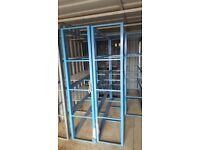 blue fixed shelving/racking ideal for garage/shed/ workshop etc.