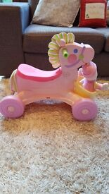 fisher price musical roll along pony and fisher price walker buggy with 1st doll