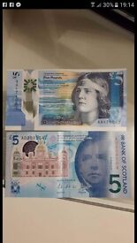 2x scottish £5notes AA and AK