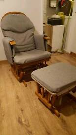 Maternity, baby nursery, breastfeeding sliding, gliding,rocking chair and stool