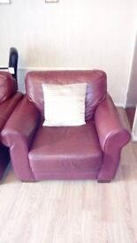 3 pc Burgundy real leather suite.