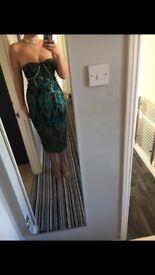 Peacock style premium midi dress
