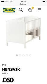 Ikea cot, mattress and bumper
