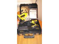 Used Dewalt 18 v cordless power tools set, DRILL/JIGSAW,BATS/CHARG. see photos & details