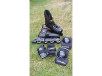 TRS Lightning Rollerblades UK11 Euro 46 with elbow and wrist protetctors