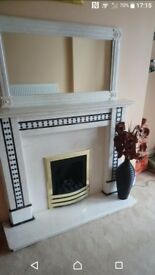 Fire place with surround &mirror