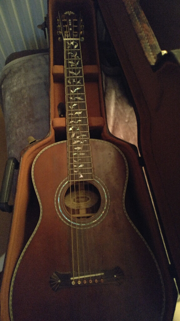 Washburn R320swrk Parlour Guitar Solid Spruce Top Coffin Case In