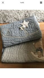 Baby mamas and papas bedding set, includes hand stitched cover and matching bumper
