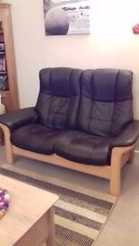2 seater 'Stressless' leather sofa. Perfect conditiion