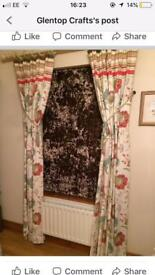 2 pairs of pleated and banded curtains