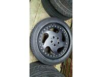 "Genuine MAM MT1 16"" STAGGERED Black alloy wheels vw audi seat skoda golf bora Leon hhj"