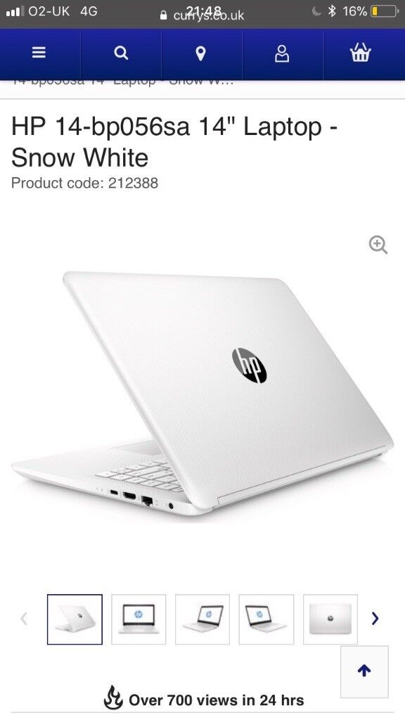 White HP laptop 1 month old