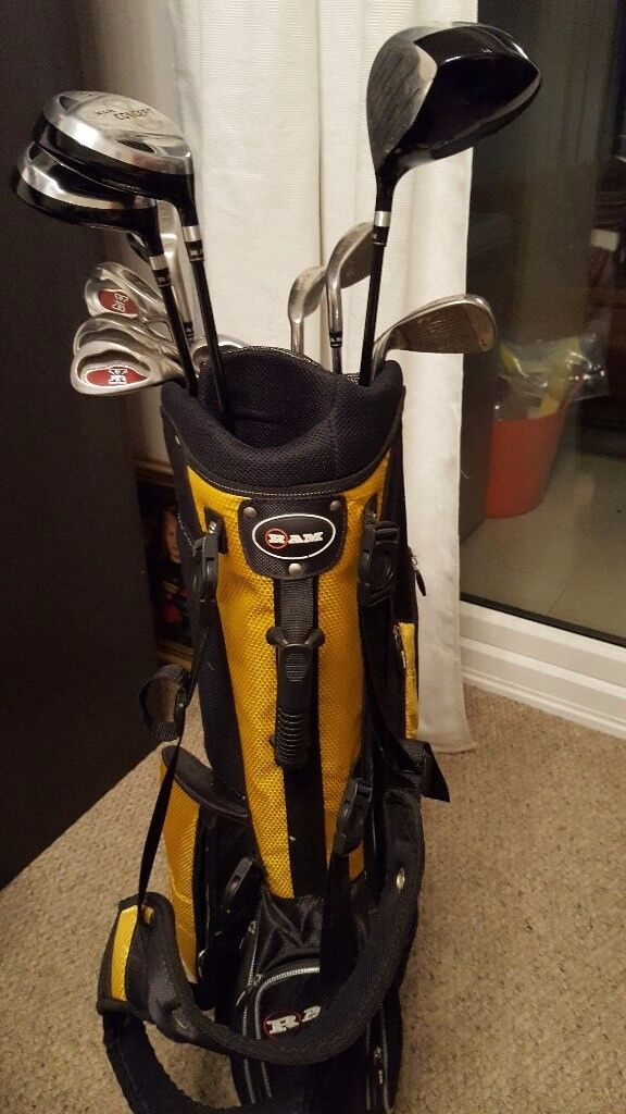 Ram golf bag and assorted clubs