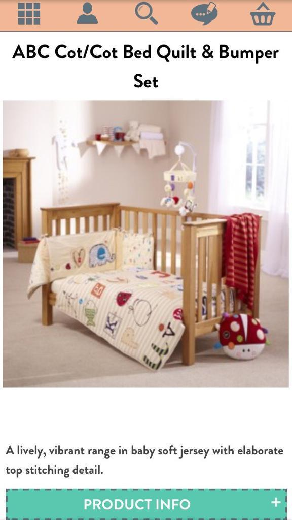 Clair De Lune Abc Complete Cot Bedding Plus Matching Mobile And Ladybird Cushion
