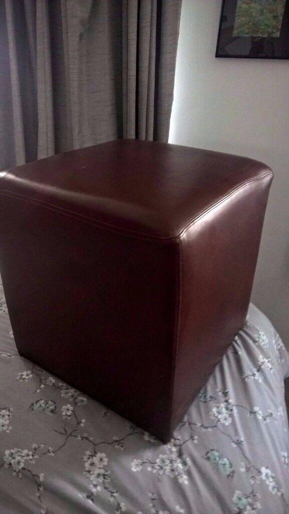 Cube footstool - Brown