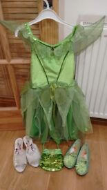 Disney Tinkerbell costume with handbag and 2 pairs of shoes, age 7-8