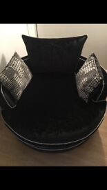 Black crushed velvet corner couch and cuddle chair