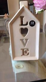 LOVE Ceramic T Light Holder