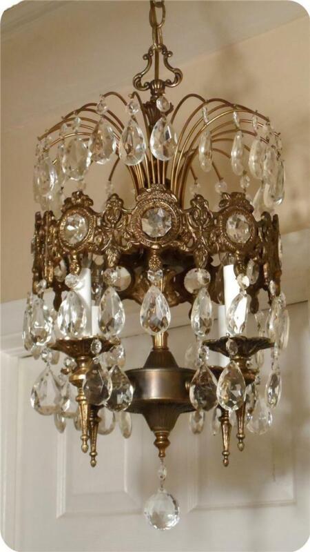 Vintage Petite Metal Brass Chandelier Crystal Prisms